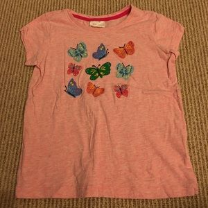 Hanna Andersson 120 pink appliqué butterfly shirt